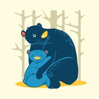 Illustration der Mama trägt mit ihren Babys