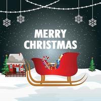 Frohe Weihnachten Einladung Grußkarte mit kreativen Geschenken vektor