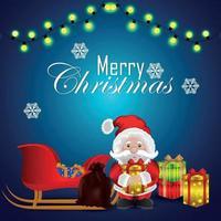 Frohe Weihnachtseinladungs-Grußkarte mit Vektorillustration von Geschenken auf kreativem Hintergrund vektor