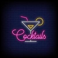 Cocktail-Leuchtreklamen-Stiltextvektor vektor