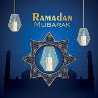 ramadan kareem islamisk festival firande gratulationskort med kristalllykta vektor