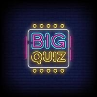 Text-Vektor des großen Quiz-Neonzeichenstils vektor