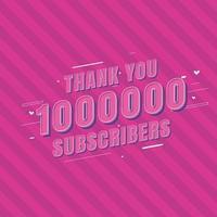 tack 1000000 prenumeranter vektor