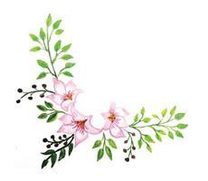 blomma ram i akvarell stil isolerad på vit bakgrund vektor