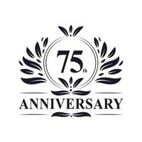 75-årsjubileum, lyxig 75-årsjubileumsdesign. vektor