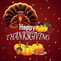 lycklig tacksägelsedagsbakgrund med kalkonfågel och pumpa vektor