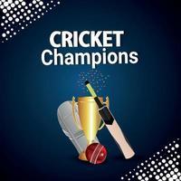 cricketmästerskapsmatch med cricketutrustning och bakgrund vektor