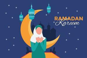 Ramadan Kareem traditionelles islamisches Festival religiös vektor