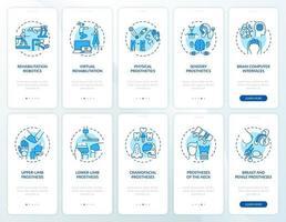Prothetische Wiederherstellung Onboarding Mobile App Seitenbildschirm mit festgelegten Konzepten vektor