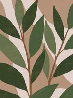 botanisches zeitgenössisches Wandkunstplakat. tropisches Laub Strichgrafikzeichnung mit abstrakter Form. Boho abstrakte Pflanzenkunstentwurf für Druck, Umschlag, Tapete, minimale und natürliche Wandkunst der Mitte des Jahrhunderts. Vektorillustration vektor