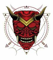 kabuki illustration. röd djävul ansikte illustration. chef för röd demon. japansk samurai-mask vektor