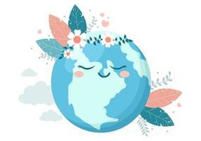 spara vår planetjordillustration till grön miljö med miljövänligt koncept och skydd mot naturskador vektor