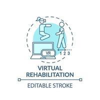 virtuell rehabilitering koncept ikon vektor