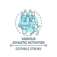 Konzeptikone für verschiedene sportliche Aktivitäten vektor