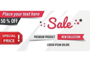 reklam banner och försäljning mall rabatt erbjudande vektor