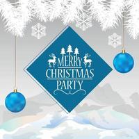 kreative Weihnachtseinladungsgrußkarte mit blauem Partyball auf weißem Hintergrund vektor