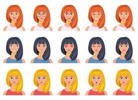 Frauengesichtsausdruckvektorentwurfsillustration lokalisiert auf weißem Hintergrund vektor