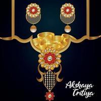akshaya tritiya indisk festival med smycken försäljning erbjudande med gyllene halsband med örhängen vektor