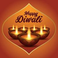 das Festival des hellen glücklichen diwali indischen Festivaleinladungshintergrunds vektor