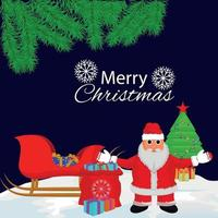 inbjudningskort för god jul med vektorillustration av jultomten vektor