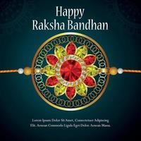 glückliche Raksha Bandhan Einladungskarte mit goldenem Kristall Rakhi mit Hintergrund vektor