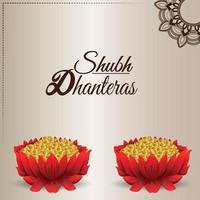 Shubh Dhanteras Feier indisches Festival mit Goldmünze Lotusblume auf kreativem Hintergrund vektor