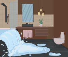 badrum översvämningar med vatten platt färg vektorillustration vektor