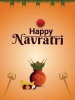 lycklig navratri indisk festival med kreativ kalash och trishul vektor