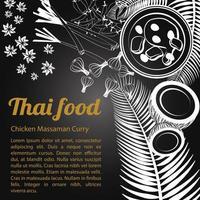 skizzieren thailändische Speisekarte Massaman vektor
