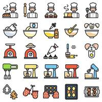 Bäckerei und Backen im Zusammenhang mit gefülltem Icon-Set vektor