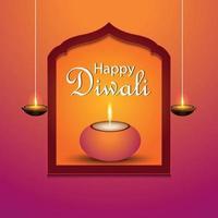 lycklig diwali firande gratulationskort med diwali diya vektor