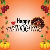 glücklicher Erntedankfesthintergrund mit kreativem Kürbis und Herbstblatt vektor