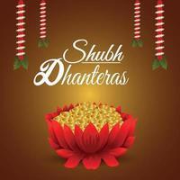 shubh dhanteras firande indisk festival med guldmynt lotusblomma på kreativ bakgrund vektor