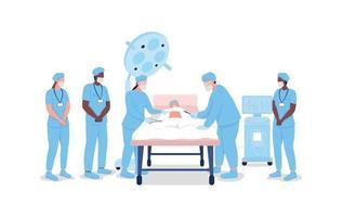 medizinische Praktikanten beobachten Chirurgen flache Farbvektor gesichtslose Zeichen vektor