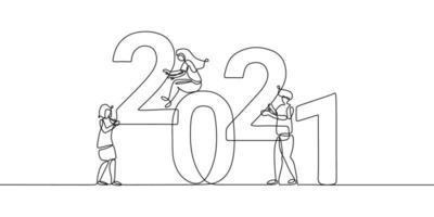 kontinuerlig en radritning av en nyårstext 2021. kinesiskt nyår av tjuren handskriven 2021 bokstäver med man och kvinna. firande nytt år koncept isolerad på vit bakgrund. vektor