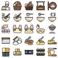 gefülltes Icon-Set für Bäckerei und Backen 2 vektor