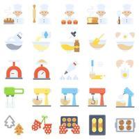 bageri och bakning relaterade platt ikonuppsättning vektor