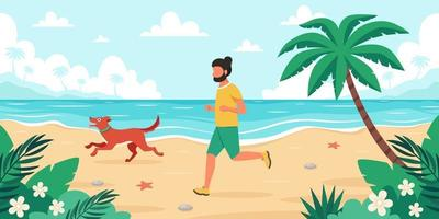 Freizeit am Strand. Mann, der mit Hund joggt. Sommerzeit. Vektorillustration vektor