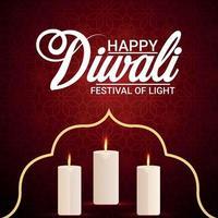 glückliche Deepawali-Einladungsgrußkarte mit kreativer Kerze vektor