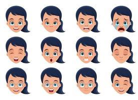 liten flicka ansiktsuttryck vektor design illustration isolerad på vit bakgrund