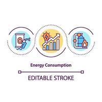 energiförbrukning koncept ikon vektor