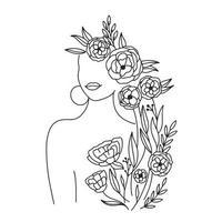 kvinnans ansikte och kropp och blommor kontinuerlig konst. abstrakt samtida collage av geometriska former i modern trendig stil. vektor porträtt av en kvinna. för skönhetskoncept, t-shirt tryck, vykort