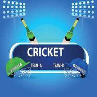 vektor illustration av cricket match med cricket utrustning och cricketer halmet