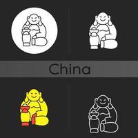 skrattande buddha mörk tema ikon vektor