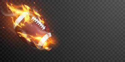 American College High School Junior gestreiften Fußball isoliert Feuer heißen Hintergrund vektor