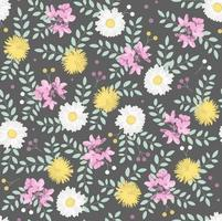 Botanisches nahtloses Muster mit weißen Kamille, gelbem Löwenzahn, rosa Blüten und grünen Blättern auf dunklem Hintergrund. Perfekt für Tapeten, Hintergrund, Textilien oder Geschenkpapier. vektor