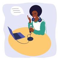 Ein schwarzer männlicher Podcaster zeichnet einen Podcast auf. afroamerikanischer Radiomoderator vektor