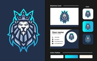 lion king esport gaming maskot logotyp och visitkort mall för streamer team vektor