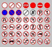 Verkehrszeichenverbotswarnung roter Kreis Symbolzeichen setzen vektor