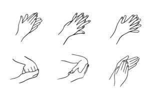 wie man die Hände richtig reinigt. Regeln für Desinfektion und Händewaschen. die hygienische und medizinische Behandlung einer Infektion. handgezeichnete Vektorillustration im Gekritzelstil. vektor